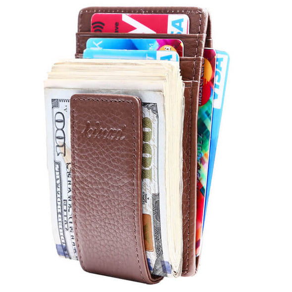 Litch Pattern Slim ID Window Money Clip Wallet
