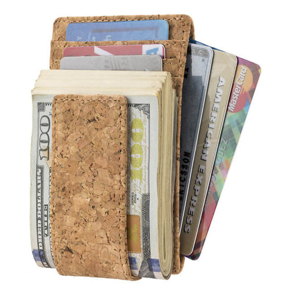vegan leather money clip wallet