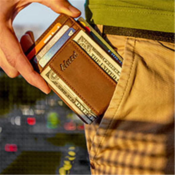 Crazy Horse Leather Y Style Money Clip Wallet
