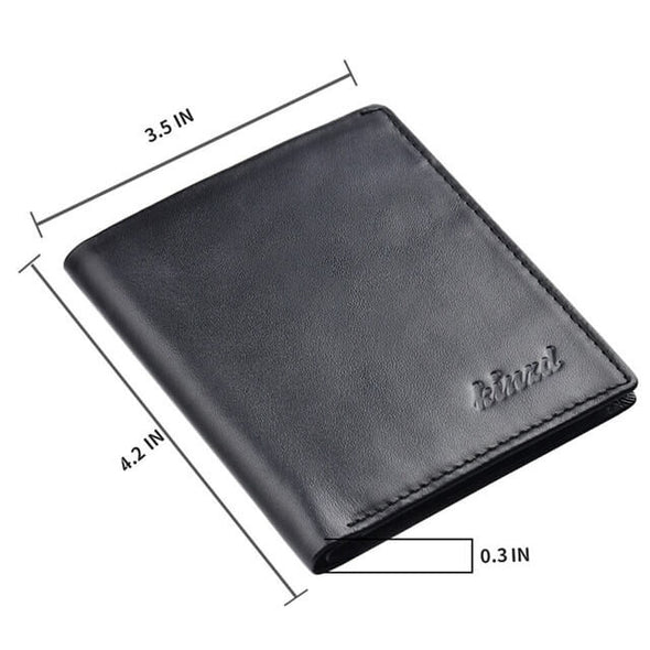 Napa Leather Slim Vertical Bifold Wallet
