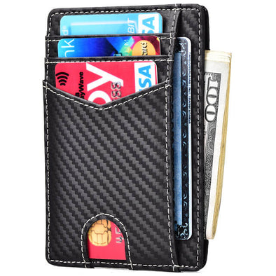 Carbon Fiber Men's Front Pocket Slim Wallet