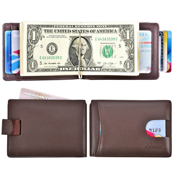 Pull Strap Slim Bifold Wallet coffee