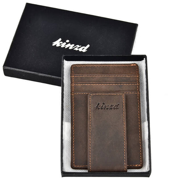 crazy horse leather money clip