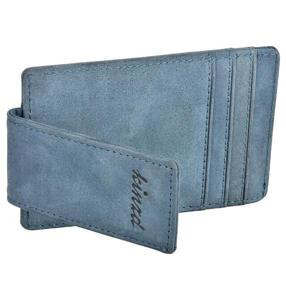 Update Crazy Horse Leather Money Clip Wallet Card Holder