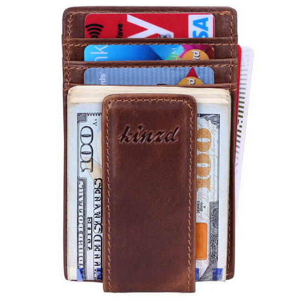 Oil Wax Slim Money Clip ID Holder