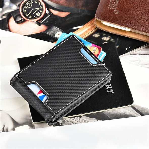 Carbon Fiber Slim Wallet with Money Clip Bifold Wallet