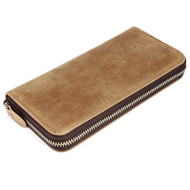 Kinzd Mens Genuine Leather Long Wallet with Zipper RFID Blocking Vintage Bifold