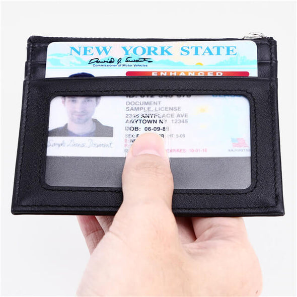 Nappa Leather Slim Wallet RFID Credit Card Holder