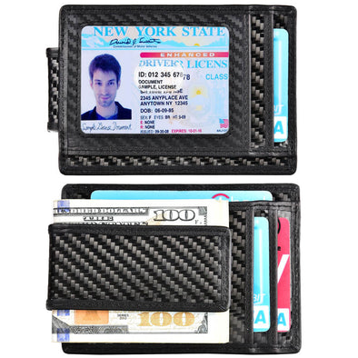 Slim wallet with id window for men