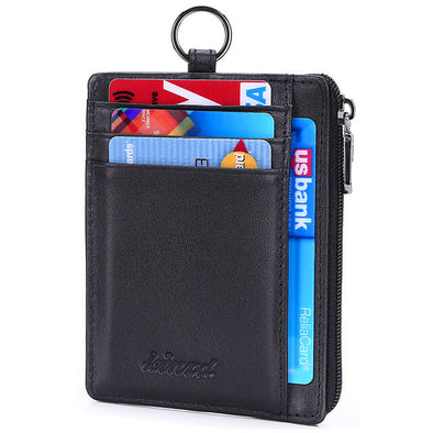 Nappa Leather Slim Ziper Coin Wallet Card Holder