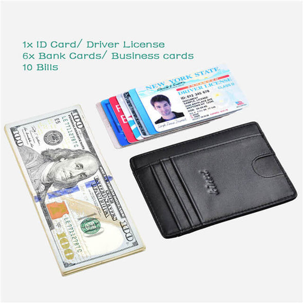 Black Slim Wallet with Finger Groove