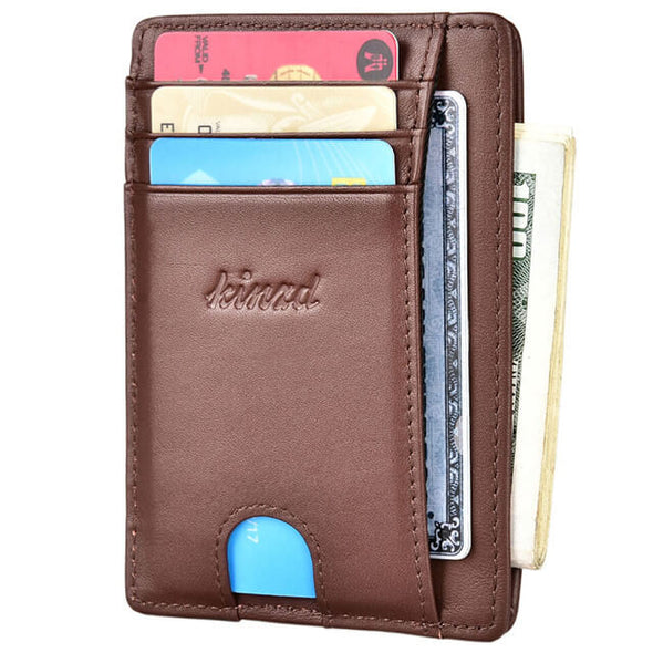 Coffee Slim Wallet with Finger Groove