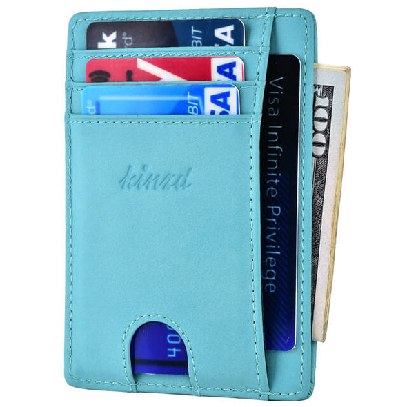 Oil Wax Leather RFID Blocking Front Pocket Slim Wallet