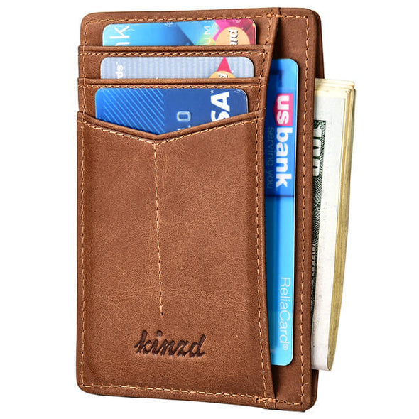 Coffee Oil Wax Leather Y Style Slim Wallet