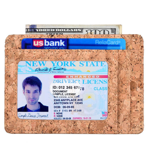 Cork Fabric Leather Y Style Slim Card Wallet