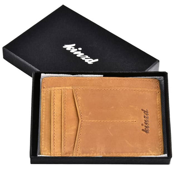 Crazy Horse Leather Y Style Slim Wallet