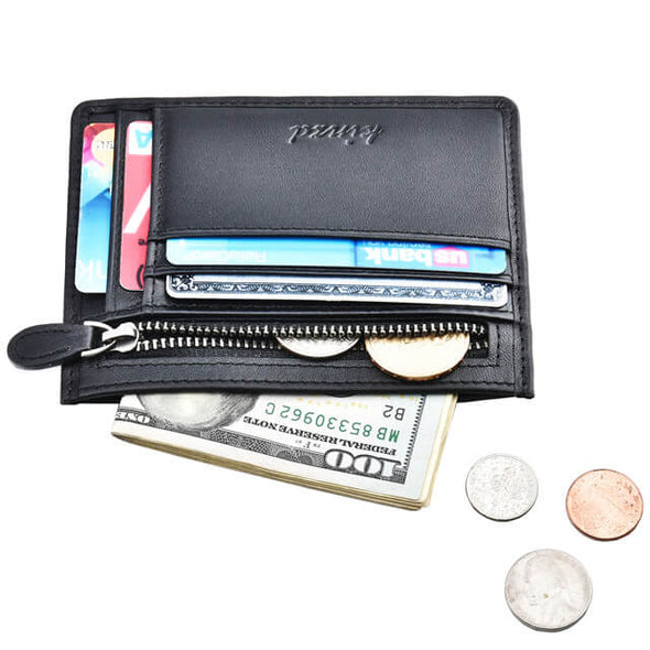 Nappa Leather Zipper Slim Coin Wallet