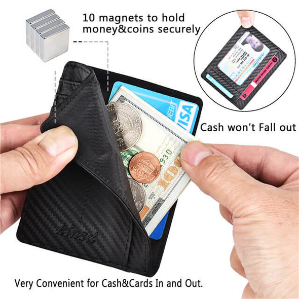 Magnetic Genuine Leather RFID Blocking Slim Wallet