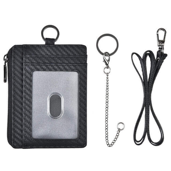 Badge Holder Carbon Fiber Slim Zipper Coin Wallet