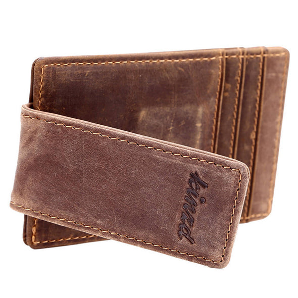 Crazy Horse Leather Front Pocket Money Clip Wallet