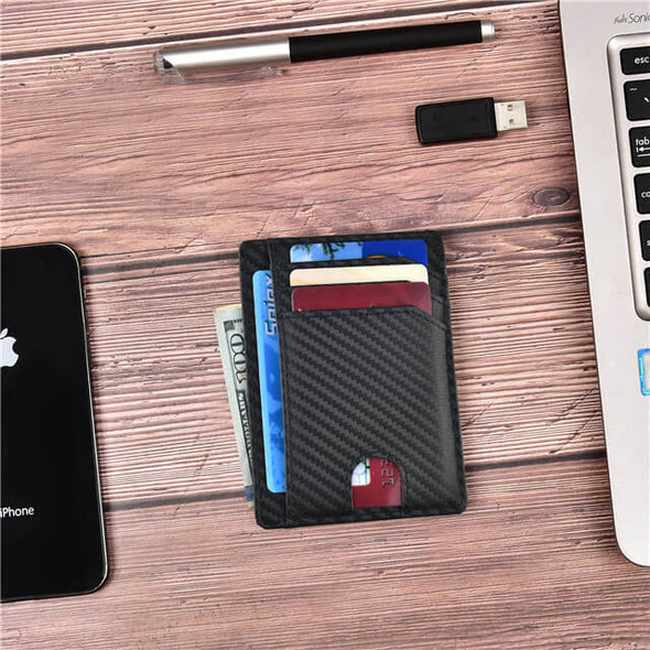 Carbon Fiber Slim Wallet Front Pocket Minimalist Card Holder
