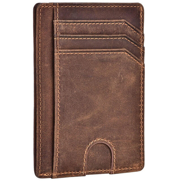 Crazy Horse Leather Slim Minimalist RFID Blocking Wallet
