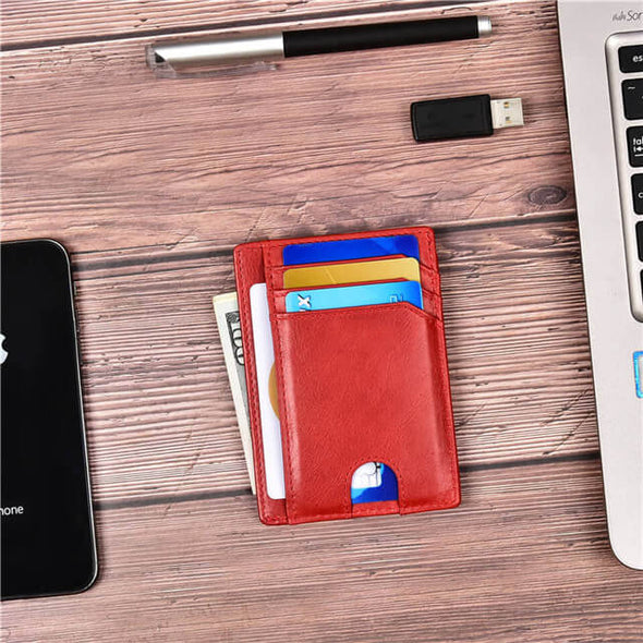 Red Slim Minimalist wallet