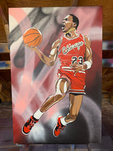"Load image into Gallery viewer, ""MICHAEL JORDAN GOLD CHAIN"" - Original Painting by Matt Szczur (24x36)"