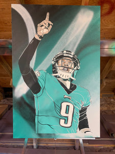 """NICK FOLES"" - Original Painting by Matt Szczur (24x36)"