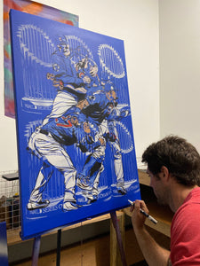 """CHICAGO CUBS 2016 WORLD SERIES CHAMPIONS PAINTING"" - Original Painting by Matt Szczur (24x36)"
