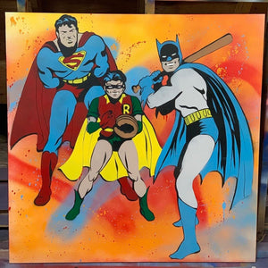 """BASEBALL AND SUPERHEROES"" - Original Painting by Matt Szczur (48x48)"