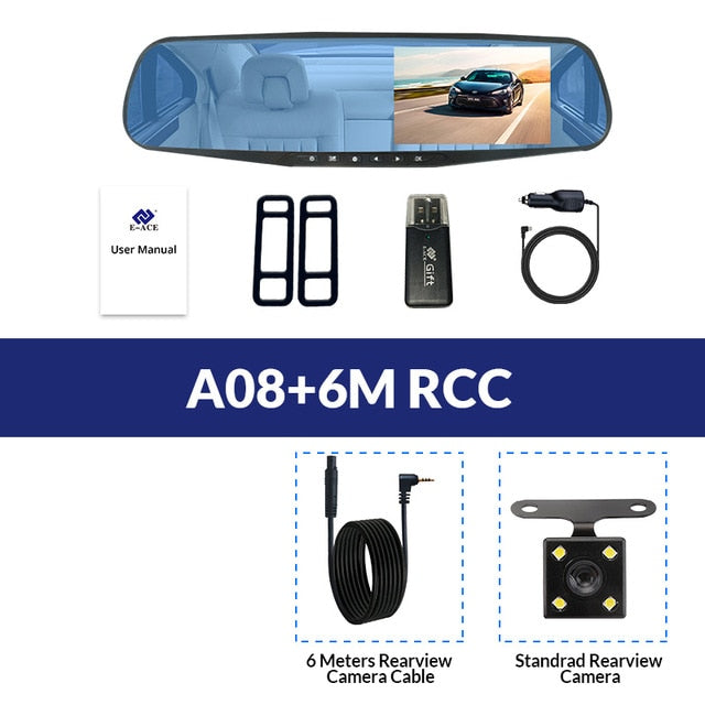 Full HD 1080P Car Dvr Camera Auto 4 3 Inch Rearview Mirror Digital Video  Recorder Dual Lens NightVision Camcorder