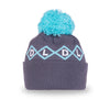 Big Bobble Winter Hat- Grey and Blue