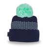 Big Bobble Winter Hat- Navy and Mint