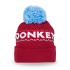 Big Bobble Winter Hat- Red and Light Blue