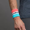 Blue on Pink Donkey Label Wristbands