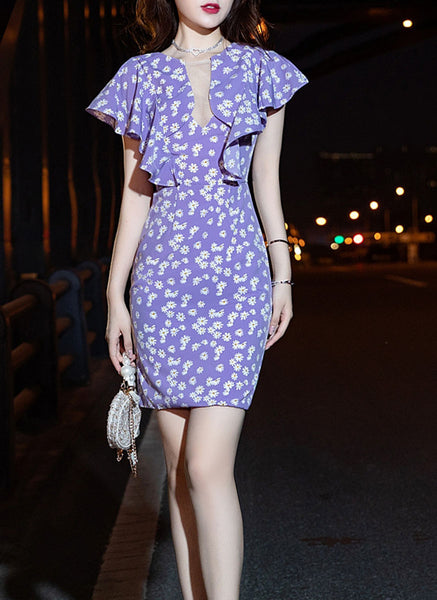 1210084 Daisy Ruffles Sleeve Dress - plus10%