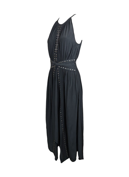 7200002 Studs Asymmetrical Dress * Black