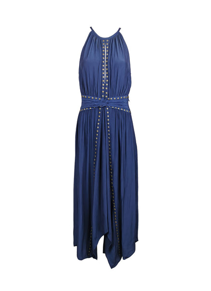 7200002 Studs Asymmetrical Dress * Navy Blue