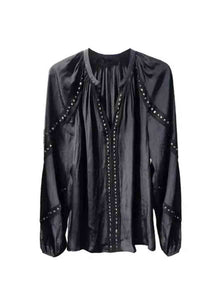 9180022 Studs Trim Blouse *Black