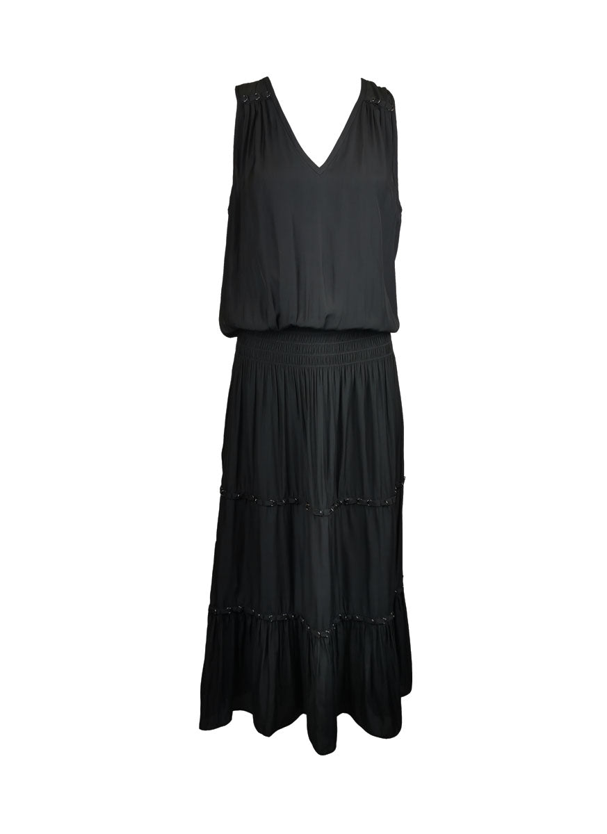 5190031 Tiered Midi Dress *Black