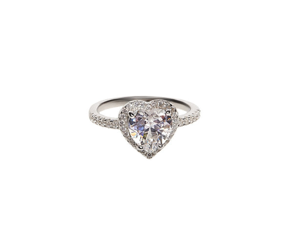 SHA0178 925 SILVER HEART DIAMOND RING