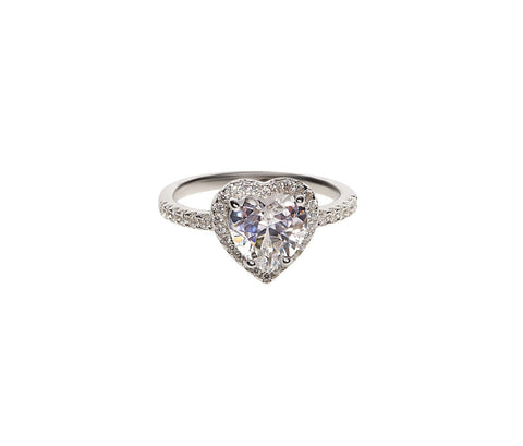 SHA0178 925 SILVER HEART DIAMOND RING (SILVER)