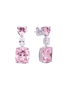 SHA0223 SQUARE GEM EARRING (PINK)