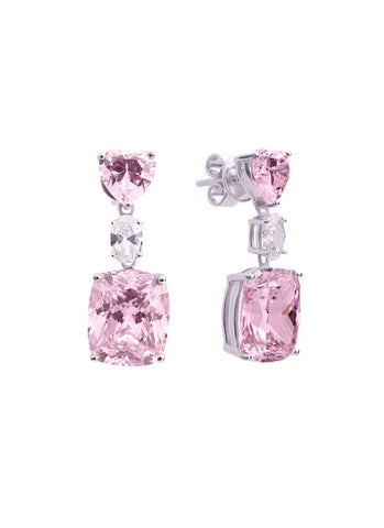 SHA0223 Square Gem Earring *Pink
