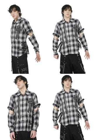Dead Threads Cut Arm Black and White Shirt with Chains GS1114 Mens Shirt