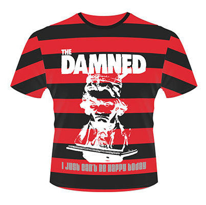 Damned Just cant be happy today stripes T-shirt