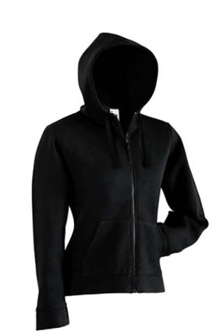 Various Punk Fruit Of The Loom Black Zipped Womens Hoodie