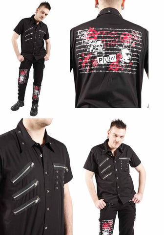 Dead Threads Black Short sleeved shirt Punks Not Dead GS9513 Mens Shirt