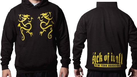 Sick Of It All Pullover Yellow Dragon New York Hardcore Mens Hoodie